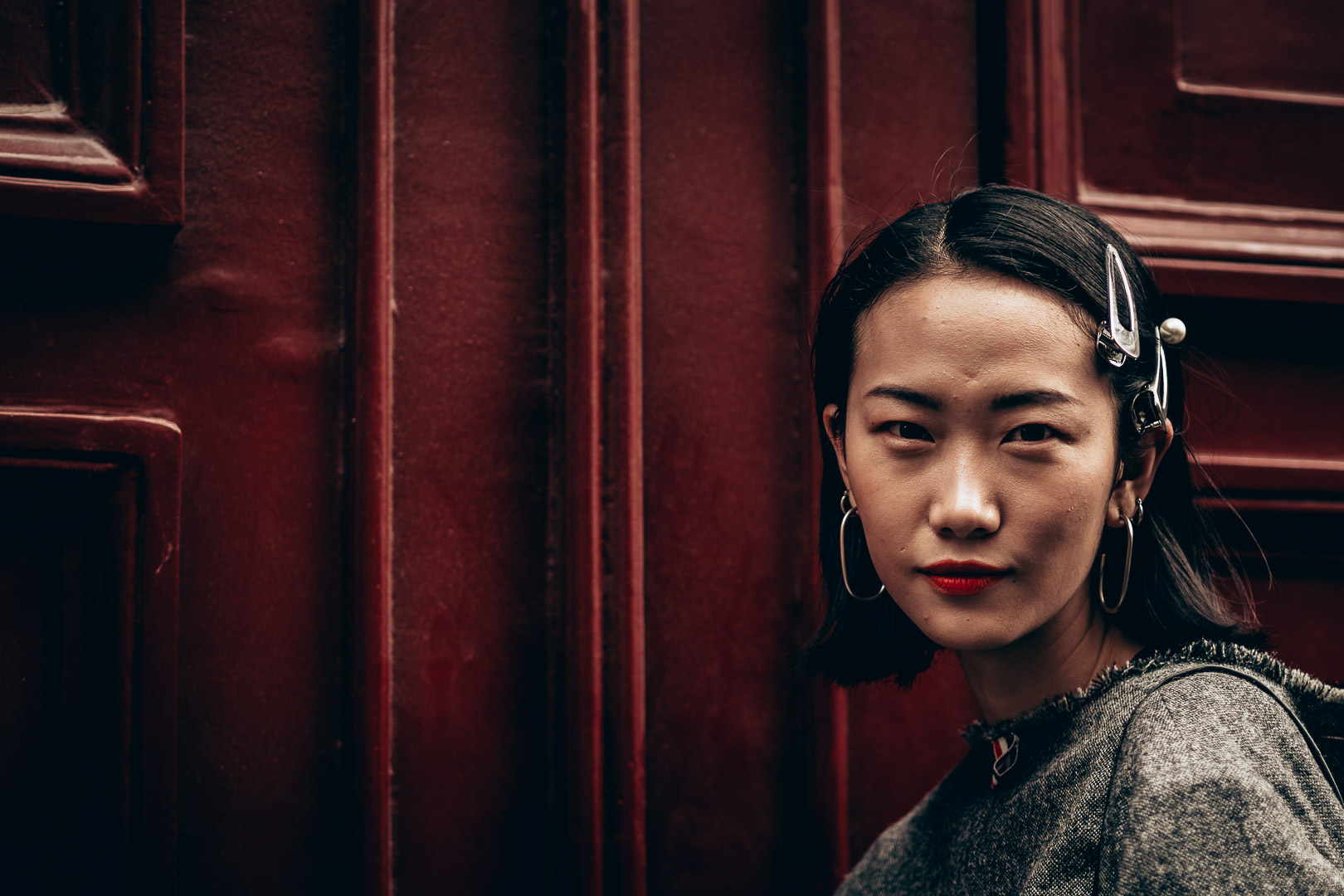 street fashion portrait photography asian girl at Paris Fashion Week