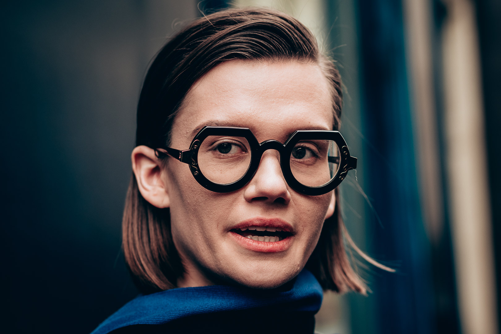 women wear big eyewear glass during Paris Fashion Week